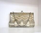 20s beaded bag // silver art deco beading // vintage 1920s beaded hand bag