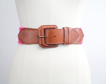 Vintage 80s Preppy Leather Belt | Woven Cotton and Leather Belt  | XS-S