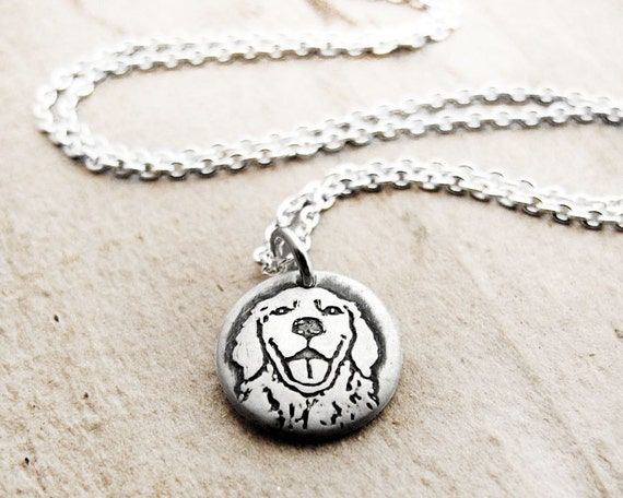 Tiny golden retriever necklace, silver dog jewelry, dog lover