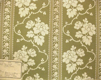 Matelasse Floral Stripe Highland Court Designer Fabric Sample Tea Green Toile Like