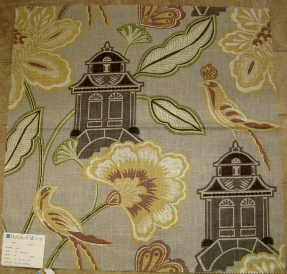 FOR Meve2 ONLY Lot of 2 Chinoiserie Duralee Floral House Bird Designer Fabric Sample Gray