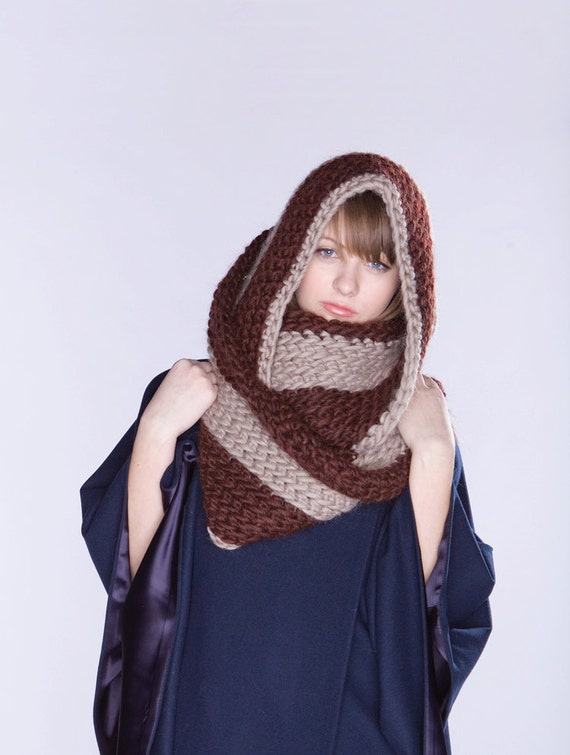 SALE - Spratters & Jayne Striped Infinity Circle Scarf, crochet, wrap, knit, for women or men- Ready to Ship