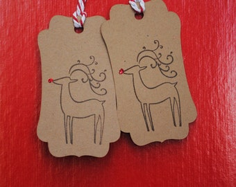 Rudolph Christmas Gift Tags - Set of 6
