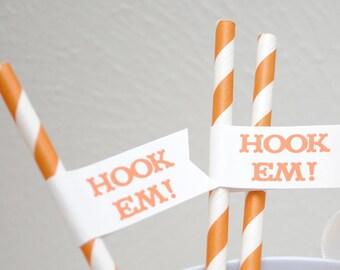Hook Em - University of Texas Paper Drink Straw Flags- Set of 12