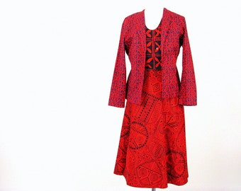 Vintage 1970's Red and Blue Wrap Skirt, Jacket and Vest, 3 Piece Outfit, Modern Size 4, XSmall