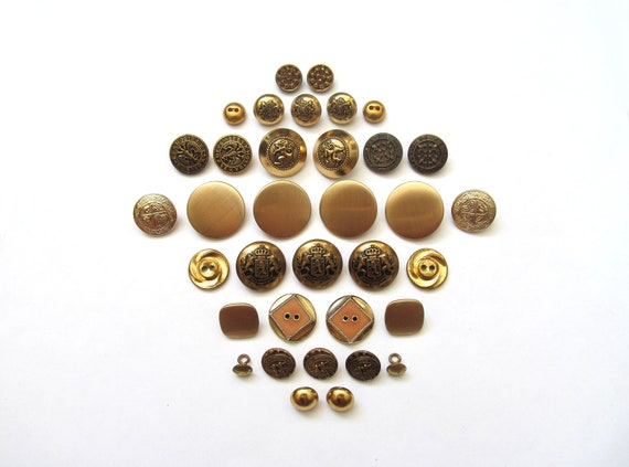 RESERVED for Lmmaxwe2- Vintage Button Sets- Gold Digger
