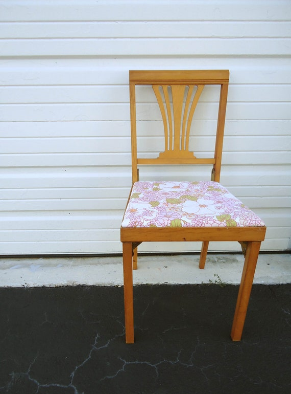 Vintage Leg O Matic Folding Wood Chair For Small Spaces Floral
