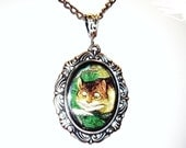Cheshire Cat Necklace-Alice in Wonderland-Silver-Pendant