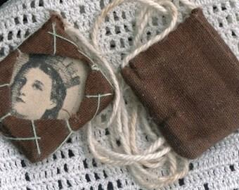 Vintage Hand Embroidered Scapular of Saint Katherine of Alexandria - Patron Saint of Single Women & Attorneys - Half Off