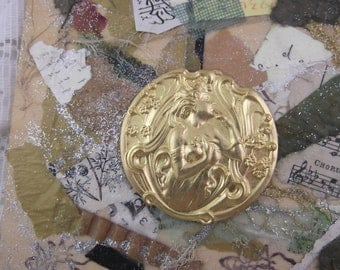Vintage Art Nouveau Brass Stamping of a Lovely Woman Amongst the Flowers - LAST ONE (EM)