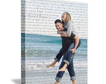 Personalized Your photo on canvas word art on Photograph Personalized Custom Art Canvas Wedding 12X16