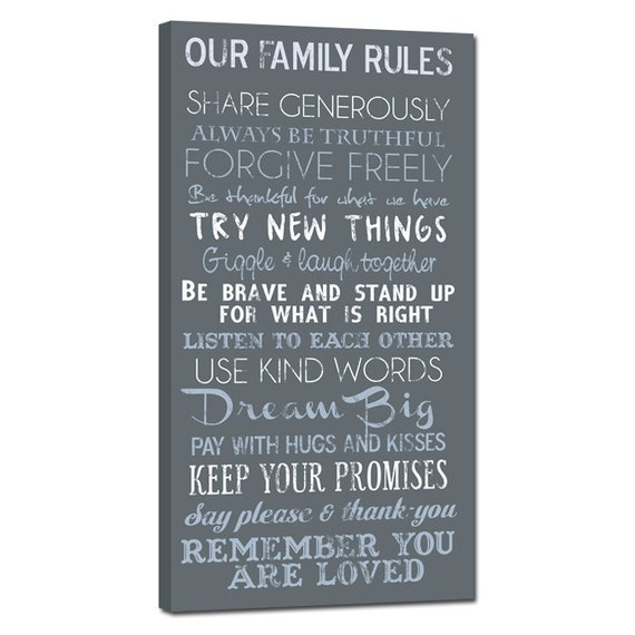 Family House Rules Quotes, Sayings Custom, Lyrics, Vows, Biblical Reading Music Art Words Personalized Canvas Art 10X20