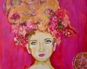Vintage Woman Print ~ Ellie Fine Art Print ~ Goddess Art ~ Floral Art Print ~ Gift for Her ~ Art for Her ~ Flowers In Her Hair ~ Bohemian