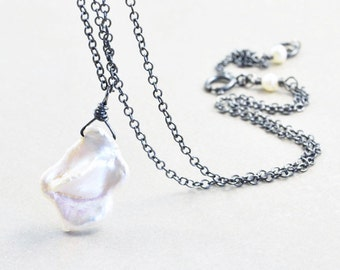 Keishi Pearl Necklace, Pearl Drop Necklace, White Pearl Pendant Necklace, June Birthstone