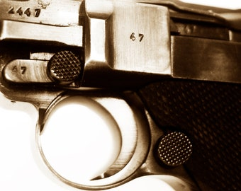 German Luger Wall Art for Man Cave Room Decor - HiStory - Gun Art Photography by Sarah McTernen