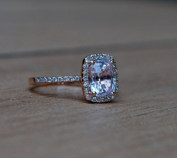 on hold -1.68ct Cushion Peach sapphire14k rose gold diamond ring enagagement ring sapphire ring-reserved