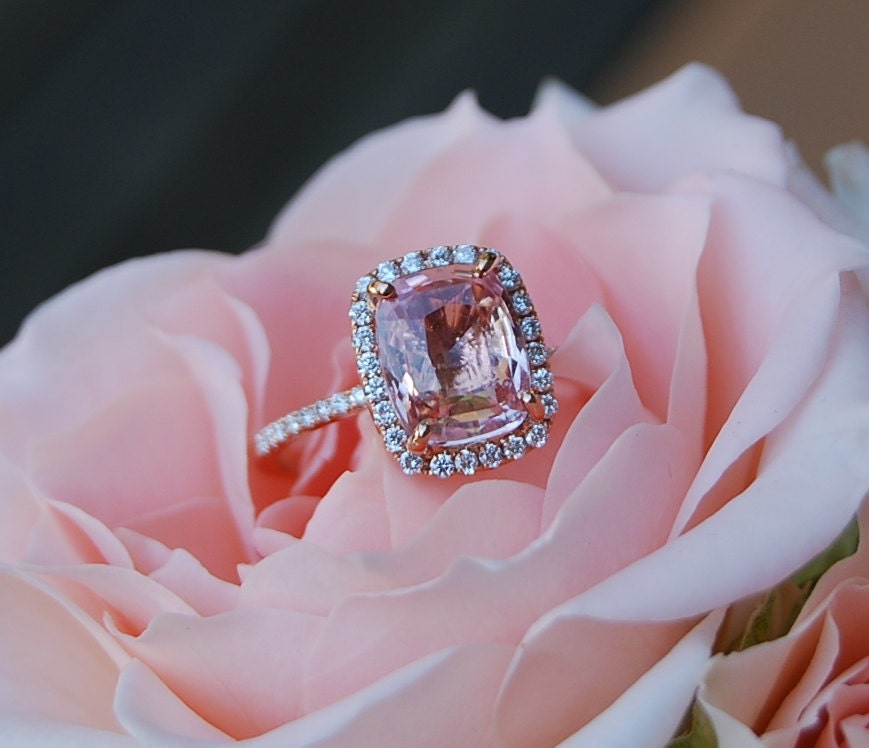 Peach Sapphire Ring Rose Gold Engagement Ring 4 6ct cushion