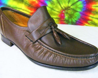 9.5 mens vintage brown leather BRUNO VALENTI tassel loafers shoes