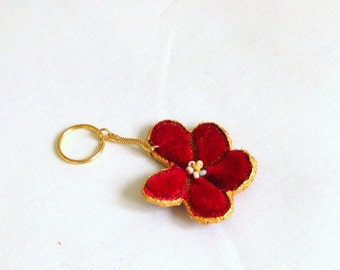 Keyring flower small red velvet golden hand crafted unique