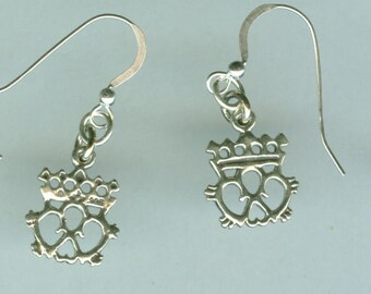 Sterling Silver CELTIC CROWN - French Earwires -  Irish, Scottish