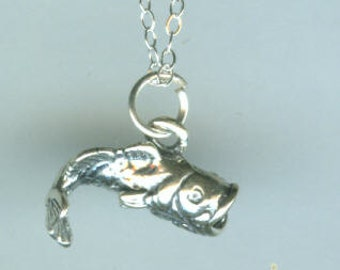 Sterling BIG MOUTH BASS Pendant and 22 Inch Chain - Fish, Fishing, Sports - 3D