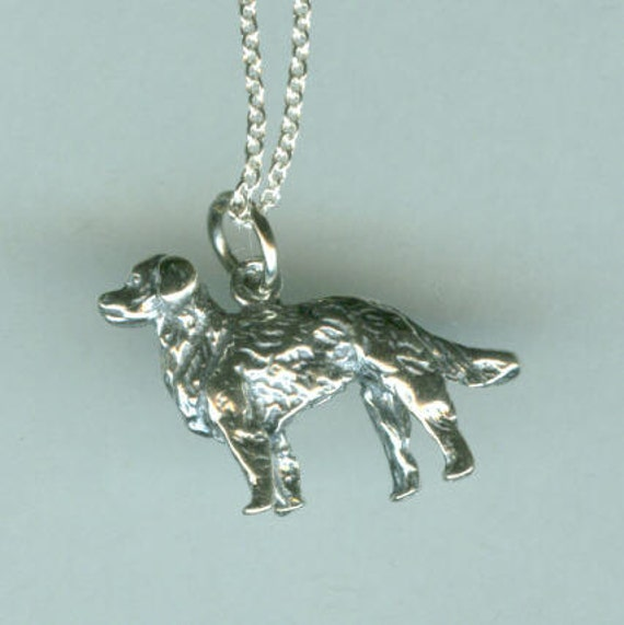 Sterling GOLDEN RETRIEVER DOG Pendant and Chain - 3D Heavy