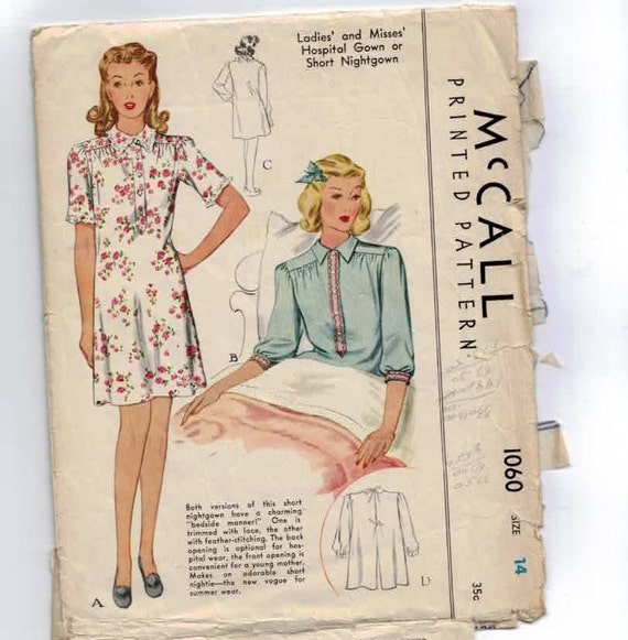 1940s Vintage Sewing Pattern McCalls 1060 Hospital Gown Short Nightgown Size 14 Bust 32 INCOMPLETE  1943