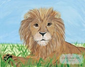 Lion African Savanna Safari Zoo Animals Kids Girls or Boys Nursery Stretched Canvas Art