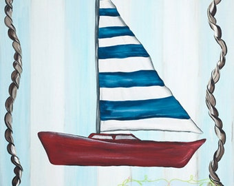 Nautical Red Blue and Green Sailboat Kids Boat Boys Art Set of Two Stretched Canvas 11x14