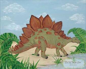Stegosaurus Dinosaur Boys Kids Art Stretched Canvas  11x14
