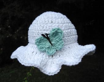 Baby Girl Sun Hat, Newborn Girl Summer Hat, Infant Beach Hat, Baby Girl Hat, Floppy Baby Hat, Butterfly Baby Hat, Cotton Newborn Hat, White