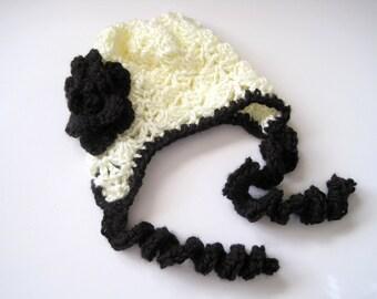 Crochet Baby Bonnet, Crochet Baby Hat, Crochet Baby Girl Hat, Newborn Girl Hat, Infant Bonnet,  Photo Prop, Infant Hat, Cream, Black, Gothic