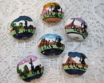 6 Peruvian Ceramic Mixed Color Llama Lentil Beads with Large Holes 18mm Large Size