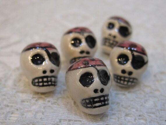 6 Pirate Skull with Bandana Peruvian Ceramic Large Vertical Hole Beads LIMITED