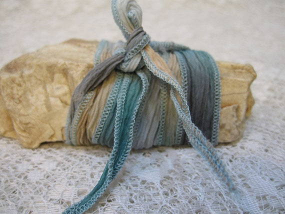 """Spring Fling Hand Dyed Silk Ribbon with Blue Stitched Edges 3' x 1/2"""" for Jewelry Making"""