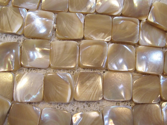 Mother of Pearl Natural Semi precious Shell Square Beads 15mm