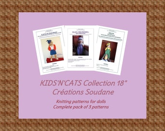 English and french pack of 3 PDF KNITTING PATTERNS Kids'n'cats 18 inches dolls