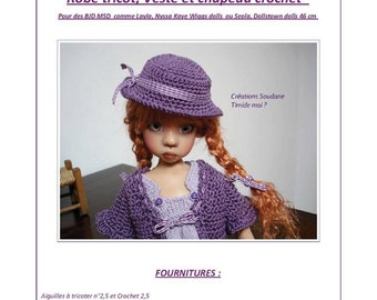 60. Only French INSTANT DOWNLOAD PDF knitting Pattern msd bjd Kaye Wiggs or Dollstown dolls 18""