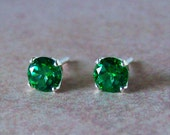 5mm Genuine Green Topaz Sterling Silver Stud Earrings, Cavalier Creations