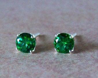 5mm Genuine Green Topaz Sterling Silver Stud Earrings, Cavalier Creations