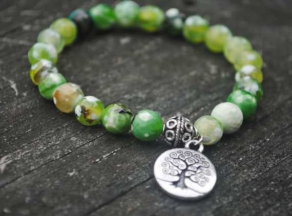 Tree of Life Mala Bead Bracelet in Green Agate