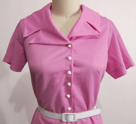 Vintage 1960's Purple Polka Dot Dress XXL