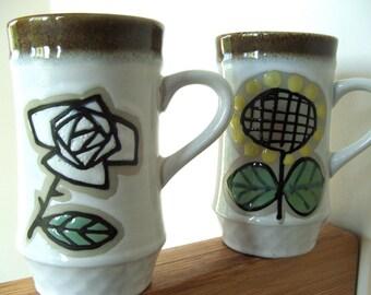 Pair of Mugs JAPAN Rose and Sunflower