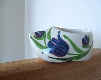 Vintage Ceramic Dutch Shoe Planter with Tulip Painted Design