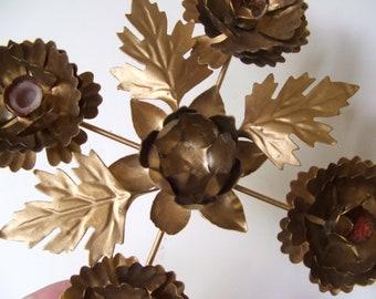 Shabby Vintage Metal Candleholder Gold Tone Lotus Flowers