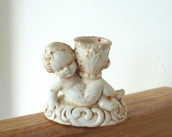Vintage Shabby Cherub Candleholder
