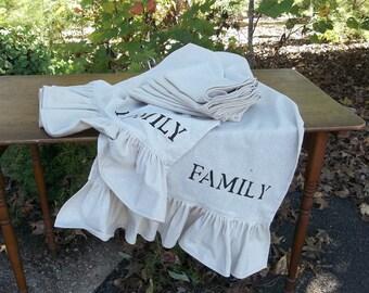 "Thanksgiving Table Runner Ruffled Table Runner 94"" French Country Wedding Decorations Table Decor Handmade Ruffled Runner 18x94"