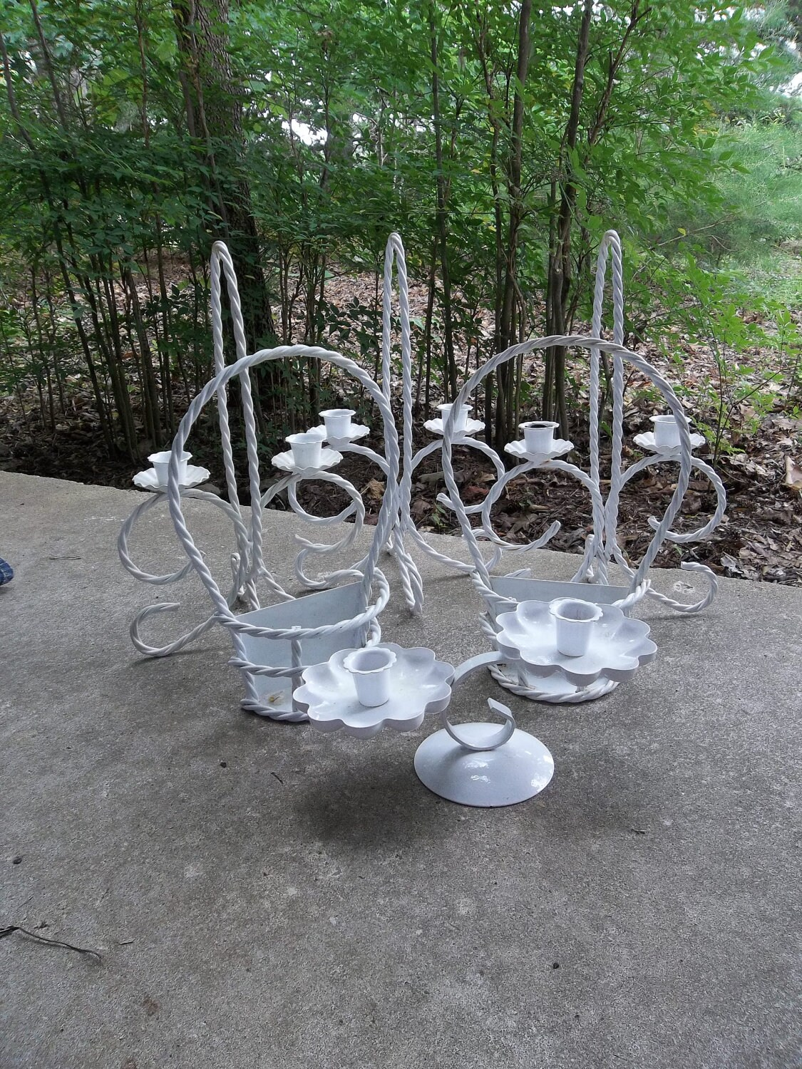 Wrought iron outdoor decor - Wrought Iron Candle Holders Vintage Wedding Decor Table Garden Idea