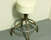 Vintage stool - metal - seat - bar stool - swivel - white cream - cushioned - RESERVED FOR  Sarah Colwill-Brown