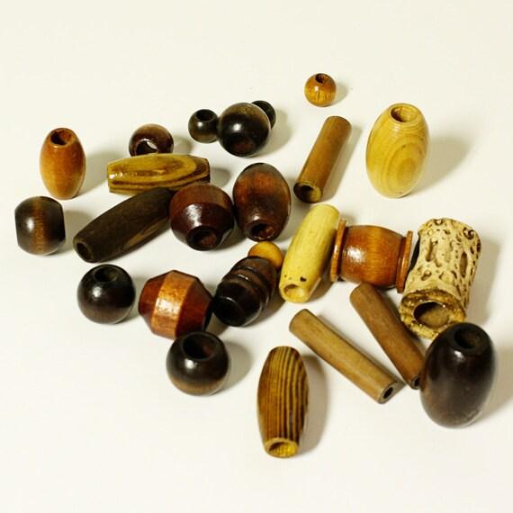 vintage macrame beads - brown - variety - 25